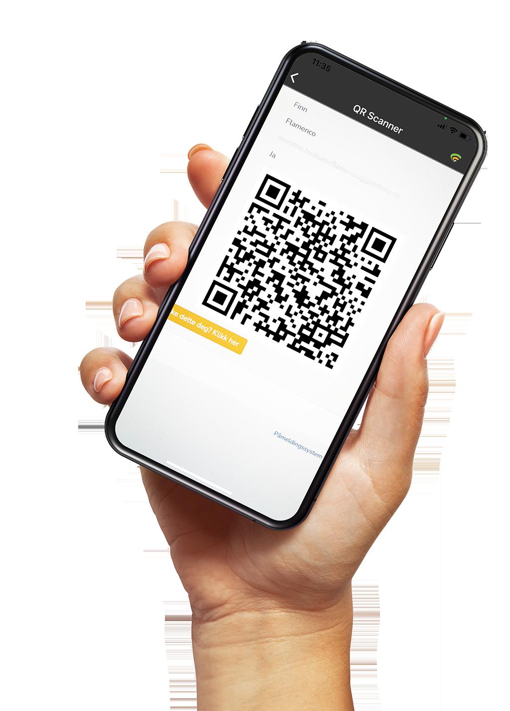 Mobilskjerm som viser en QR-kode